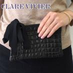 Clare Vivier クレア・ヴィヴィエ ウォレット レザークラッチバッグ ポーチ ブラック レディース