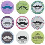 缶バッジ「Mustache」髭モチーフバッジ 缶バッチ 直径3.1cm Tシャツやバッグなどに付けてコーディネートを楽しんでみてね! 17種類|Sweety