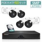 JENNOV 防犯カメラ 監視カメラ 屋外 室内 家庭用 業務用 POE給電 500万画素 音声録画 暗視機能 スマホ 遠隔操作 ネットワークカメラ セット JEN009-ss
