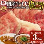 牛肉 肉 お肉屋さんの 国産 牛スジ 牛 生 すじ 煮込み用 スジ たっぷり 3kg  訳あり お取り寄せ 送料無料