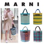 MARNI MARKET マルニ マーケット ラウンドピクニックバッグ 円柱型