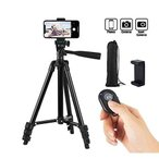 送料無料 三脚 スタンド三脚 ビデオカメラ スマホ カメラ スタンド 軽量 アルミホルダー  約34〜106cm Bluetooth 収納袋付き