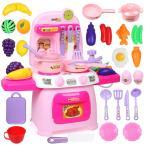 おままごと キッチンセット ままごと 豪華セット 果物 調理器具 食器 食材 付き サウンドとライトに楽しめます ごっこ遊び 子供 プレゼント