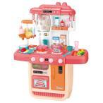 57点セット ままごと キッチンセット 循環水 水蒸気 温度で色が変わる ごっこ遊び スプレー リアル料理音 収納可 調理器具 食器 台所 ピンク