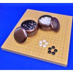 囲碁セット 新かや1寸ハギ卓上碁盤セット(ガラス碁石新生梅・プラ銘木大) ※折碁盤よりしっかりした打ち味の一体式の見やすい木製囲碁盤セット