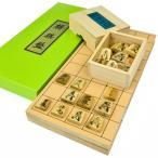 将棋セット 新桂5号折将棋盤セット(木製将棋駒上別製源平駒)