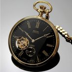 オープンフェイスで裏側フルスケルトンの手巻き/懐中時計