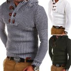セーター メンズ やわらかい カーディガン 長袖 ニット Vネック ケーブルニット トップス 細身 オラオラ系 無地