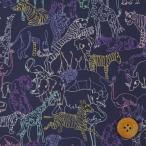 リバティプリント タナローン『Neon Safari ネオン・サファリ』パープル&ピンク(ネイビー地)(19-1229212/P19C)