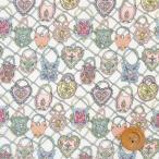 リバティプリント タナローン『Together トゥギャザー』ライトグリーン&ピンク(オフホワイト地)(20-36301110/20BT)