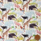 リバティプリント タナローン『Queue for the Zoo キュー・フォー・ザ・ズー』イエロー&ライトブルー(3634160/YE)
