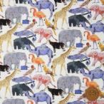 リバティプリント タナローン『Queue for the Zoo キュー・フォー・ザ・ズー』オレンジ&ブルー(3634160/ZE)
