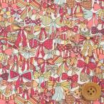 リバティプリント タナローン『Jenny's Ribbons ジェニーズ・リボンズ』イエロー&ピンク(サンドウ限定復刻色/3636294)