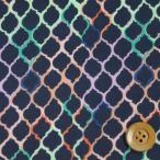 ショッピングプリント リバティプリント タナローン526『Ombre Tiles オンブレ・タイルズ』グリーン&ネイビー(3636273/16B)