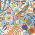 ショッピングプリント リバティプリント タナローン687『Tropical Trails トロピカル・トレイルズ』オレンジ&ピンク(18-3638147/18AT)