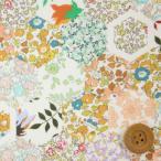 ショッピングプリント リバティプリント タナローン690『Patchwork Stories パッチワーク・ストーリーズ』グリーン&オレンジ(18-3638151/18CT)