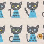 putidepome(プティデポーム)2016 Fabric『くろねこタンゴ』(キルティング)GRY:グレー&ブルー