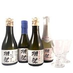 獺祭  日本酒 ざんまいセット 純米大吟醸23 39 45 スパークリング45 180ml×4本と貴人グラス 2脚 送料無料 山口県 旭酒造 クール便