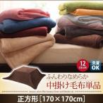 同色・同素材でそろう! ふんわりなめらか 中掛け毛布付きマイクロファイバーこたつ布団セット 毛布単品 正方形