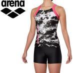アリーナ 水泳 大きめカラースナップ付きHASSUIセパレーツ ぴったりパッド フィットネス 水着 レディス FLA-9937W-BLK 返品不可