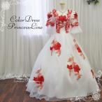 ショッピングカラー カラードレス 中世貴族風ドレス お姫様ドレス オペラ 舞台衣装 コスプレ ステージ衣装 声楽 ホワイト×レッド 花柄 7号・9号・11号/g11164