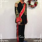 タキシードブラック×レッド 4点セット 紳士服 貴族風 王子様 皇太子 舞台衣装 ステージ衣装 二次会  コスプレLサイズ/tx2108
