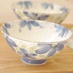 花かおり 青 丸型大平茶碗 13cm    和食器 茶碗 お茶碗 夫婦茶碗 お茶漬け用 大きい茶碗 大きな茶碗