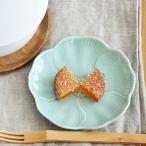 パステルカラー お花の小皿 グリーン アウトレット込み 和食器 輪花 和皿 お皿 花型 プレート 椿 お菓子皿 醤油皿 美濃焼