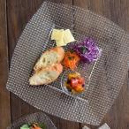 ガラス製 スクエア特大皿 (アウトレット)角皿 盛り皿 前菜皿 ガラス食器 プレート リムプレート オードブル