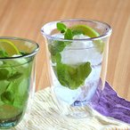 バイカラーのダブルウォールグラス ライラック アウトレット      ガラス食器 タンブラー コップ 二重グラス 保冷グラス