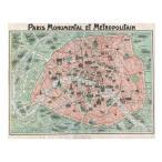 �إ����롦�̡����������ѥ�ޥåס�Art Nouveau Paris Map 1920 �� ���Υݥ�������������91.5��61cm