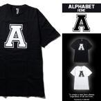 アルファベットTシャツ デザインA S M L XLサイズ 黒色 白色