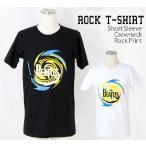 ロックtシャツ バンドtシャツ パンク The Beatles ビートルズ 渦巻きロゴ Mサイズ Lサイズ 黒色 白色