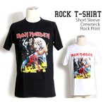 ロックtシャツ バンドTシャツ パンク IRON MEIDEN アイアンメイデン モンスター 黒色 白色 Mサイズ Lサイズ