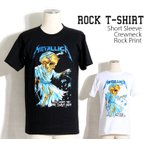 ロックtシャツ バンドTシャツ パンク Metallica メタリカ どくろの天秤 黒色 白色 S M Lサイズ