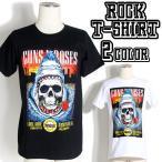 ロックTシャツ バンドTシャツ パンク Guns N' Roses ガンズ アンド ローゼズ サメとドクロとバラ M L XLサイズ 黒色 白色