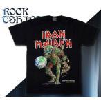 ロックtシャツ バンドtシャツ パンク Iron Maiden アイアン メイデン 地球を奪った怪物 Mサイズ 黒色