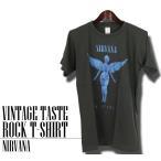 ヴィンテージロックtシャツ バンドtシャツ パンク ニルヴァーナ 天使ロゴ Mサイズ Lサイズ 黒色