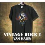 ヴィンテージロックtシャツ バンドtシャツ パンク VAN HALEN ヴァンヘイレン M Lサイズ 黒色