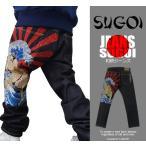 和柄ジーンズ デニム メンズ 和柄刺繍デニム SUGOI 日本相撲 32 34 36 38サイズ エントリーでポイント10倍