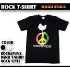 ロックTシャツ WOOD STOCK ウッドストック ピースマークと鳥 Mサイズ Lサイズ 黒色 白色