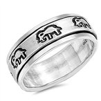 Elephant Spinner Polished Fashion Ring New .925 Sterling
