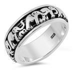Elephant Spinner Eternity Wedding Ring New .925 Sterling