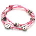 ショッピングHEARTS ハート マルチ チャーム Double Wrapping Handmade ブレスレット in ピンク for ラブ(海外取寄せ品)