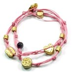 ショッピングハートゴールド ハート ゴールド プレート チャーム Double Wrapping Handmade ブレスレット in ピンク for ラブ(海外取寄せ品)