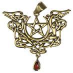 ショッピングGARNET ブロンズ Viking Knot Dragon Pentacle ペンダント with ナチュラル Garnet(海外取寄せ品)