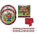 Lumberjack クマ ウッドランド Birthday パーティー サプライ キット Including プレート, ナプキン, テ海外取寄せ品