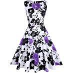 IHOT ヴィンテージ 1950's フローラル スプリング ガーデン パーティー Picnic ドレス パーティー カクテル ドレス(海外取寄せ品)