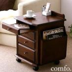 ベッドサイドテーブル 木製/天然木 サイドテーブル キャスター付き コンセント付き 〔幅39×奥行き35×高さ48cm〕