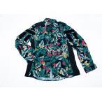 ハワイアンフラワー 花柄 コンバットシャツ グリーン/  男女兼用